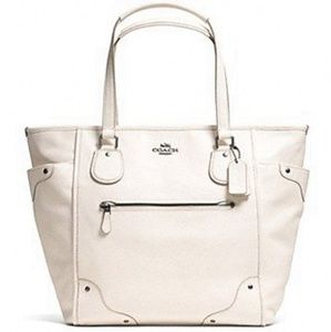 Coach Mickie Tote Cross Grain Leather Chalk
